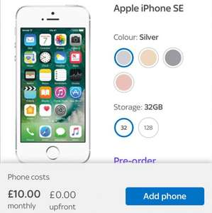 iPhone SE for £10 p/m (12 months minimum £120) or add a plan for as little as £5 - £15 in total a month. Sky customers only