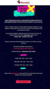 Nandos £5 menu - Soho - 14th to 16th July - and free art exhibition