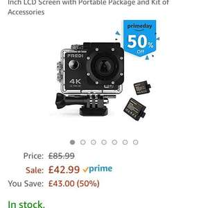 FREDI 4K Sports Action Camera 16MP Wifi Cam Ultra HD Waterproof DV Camcorder 170 Degree Wide View Angle 2 Inch LCD Screen with Portable Package and Kit of Accessories - £42.99 @ Sold by FREDIDirect UK and Fulfilled by Amazon.