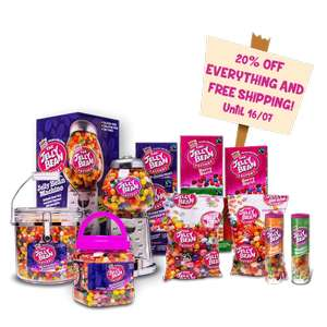 The jelly bean factory has 20% off Everything and Free Delivery.