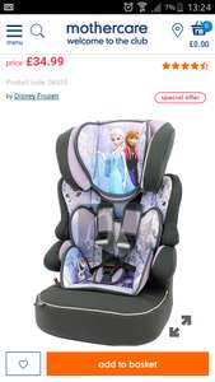 Disney Frozen Beline SP Highback Booster Car Seat £34.99 Mothercare free C+C