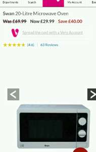 Swan 20L Microwave Oven @ Very - £33.98 delivered