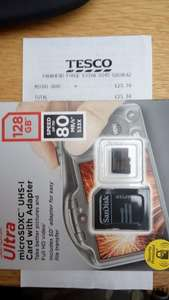 SanDisk 128GB 80mbps  Micro Sd card - £23.74 . Tesco Parkhead but Probably National