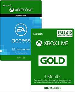 3 Months Xbox Live Gold with 12 Months EA Access AND £10 XBL Credit - £28.69 / 3 Months Xbox Live & £10 Credit - £12.99 / 15 Months PS+ - £29.99 - Amazon (Prime) - Possibly -£10 with Student Discount