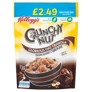 Kellogg's Crunchy Nut Glorious Oat Granola Cracking Hazelnuts & Chocolate 380g £1.24 / Weetos Chocolatey Hoops 500g £1.49 @ Iceland