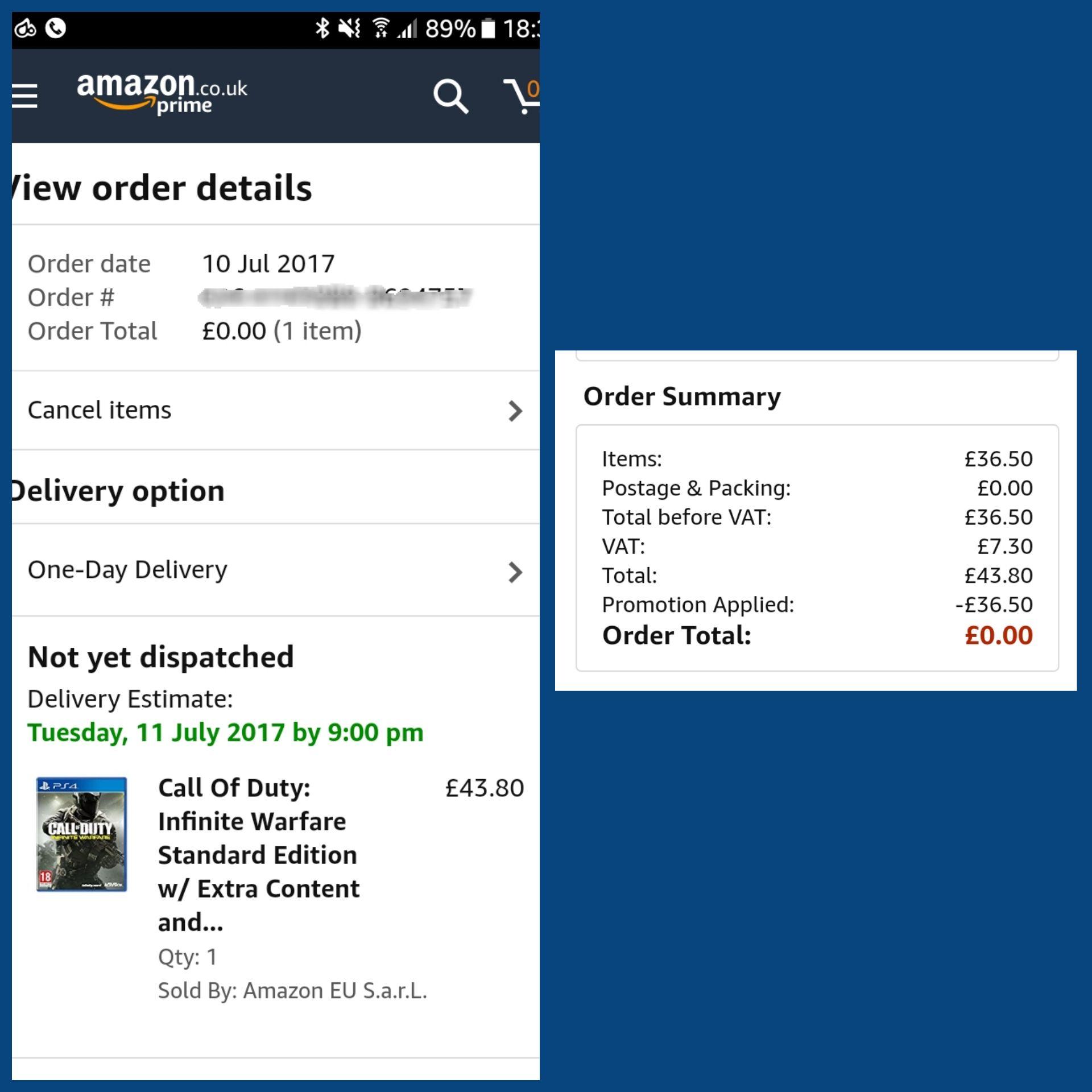 Call of Duty Infinite Warfare PS4 free @ Amazon