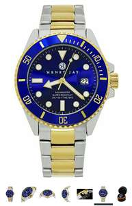 """Henry Jay - 7 Mens 23K Gold Plated Two Tone Stainless Steel """"Specialty Aquamaster"""" Professional Dive Watch £49.99 Sold by The Glickery LLC and Fulfilled by Amazon"""