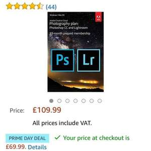 Adobe Creative Cloud Photography Plan: Photoshop CC Plus Lightroom - 12-Month Licence - Download (PC/Mac) £69.99 @ Amazon
