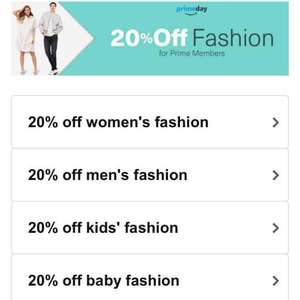 20% off fashion prime day at Amazon