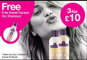Aussie hair care 3 for £10 plus free 180ml sweet escape dry shampoo when you buy 3 products & free delivery @ Superdrug