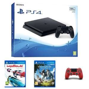 Sony PlayStation 4 (500GB)+ Wipeout + Horizon Zero Dawn + 2nd Red DualShock 4 Controller £179.99 @ Amazon