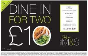 Dine in for 2 for £10 is back again @ M&S
