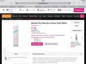 Batiste Rose Gold Dry Shampoo 200 ml £1.25 each (Rrp £2.99) + buy one get one half price +free delivery - Superdrug
