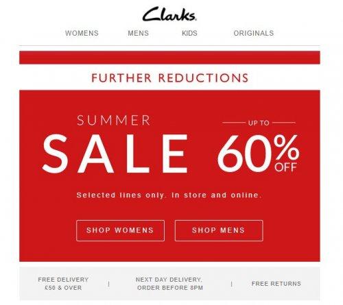 Clarks sale now upto 60% off (free C&C)