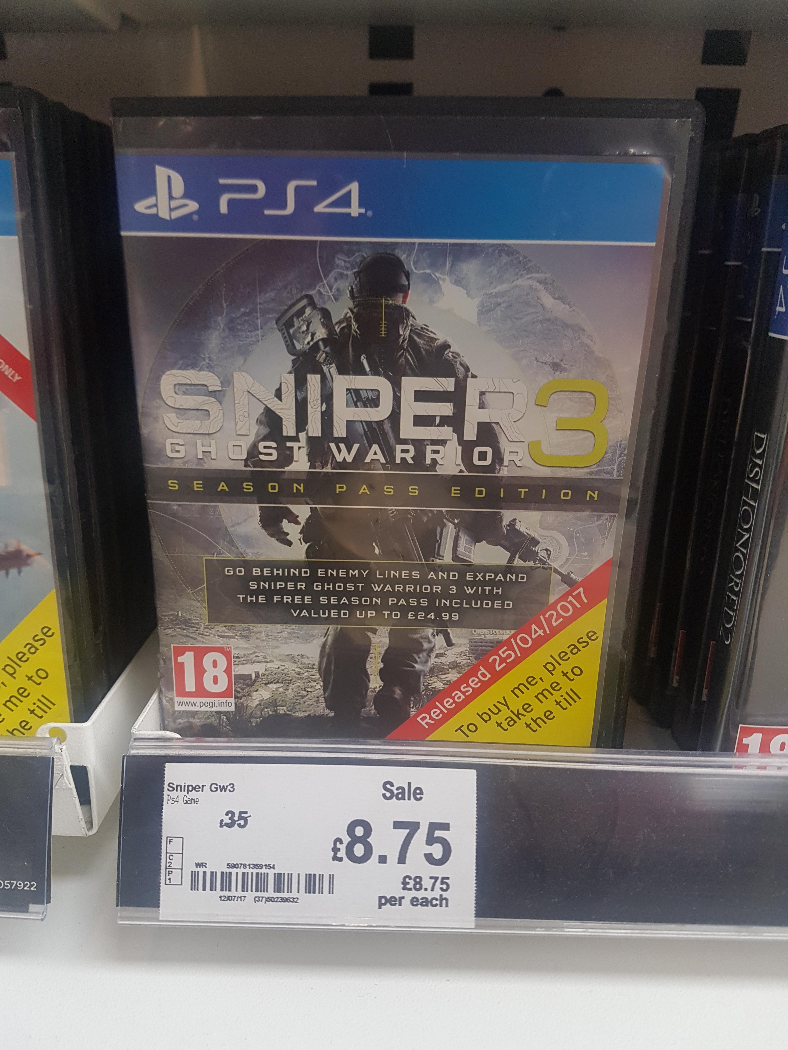 Sniper 3 ps4 - £8.75  Found at asda Tunbridge wells