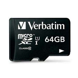 Verbatim 64GB Micro SD Card (class 10) + Adapter  £18.99 delivered @ MyMemory