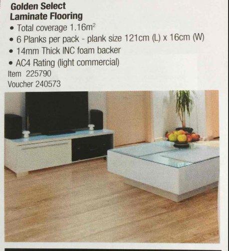 Golden select laminate flooring @ Costco £14.38 for 1.16m sq