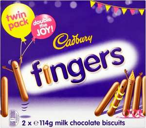 Cadbury Fingers Milk Chocolate Biscuits Twin Pack (2 x 114g = 228g) was £2.49 now £1.00 (RollBack) @ Asda