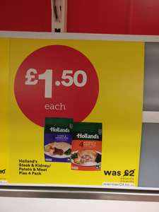 Hollands pies 4 pack Steak & Kidney/Meat & Potato Iceland - £1.50 (instore)