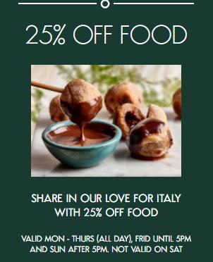25% off food using voucher @ Ask Italian Restaurants