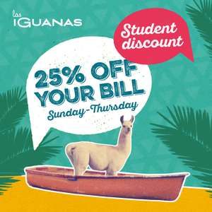 25% Disount for Students on the A la Carte Menu / 2-4-1 Cocktails (full price only) @ Las Iguanas (Sun - Thursday)