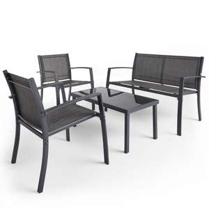 VonHaus 4 Pcs Textoline Table & Chairs Garden Patio Furniture Dining Bistro Set on  £69.99 domu-uk eBay - delivered