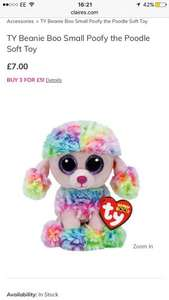 TY Beanie Boo Small Poofy the Poodle Soft Toy 3 for £5 @ claires