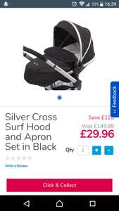 Silver Cross Surf hood and apron pack. £29.96 - normally £150 @ToysRus C&C