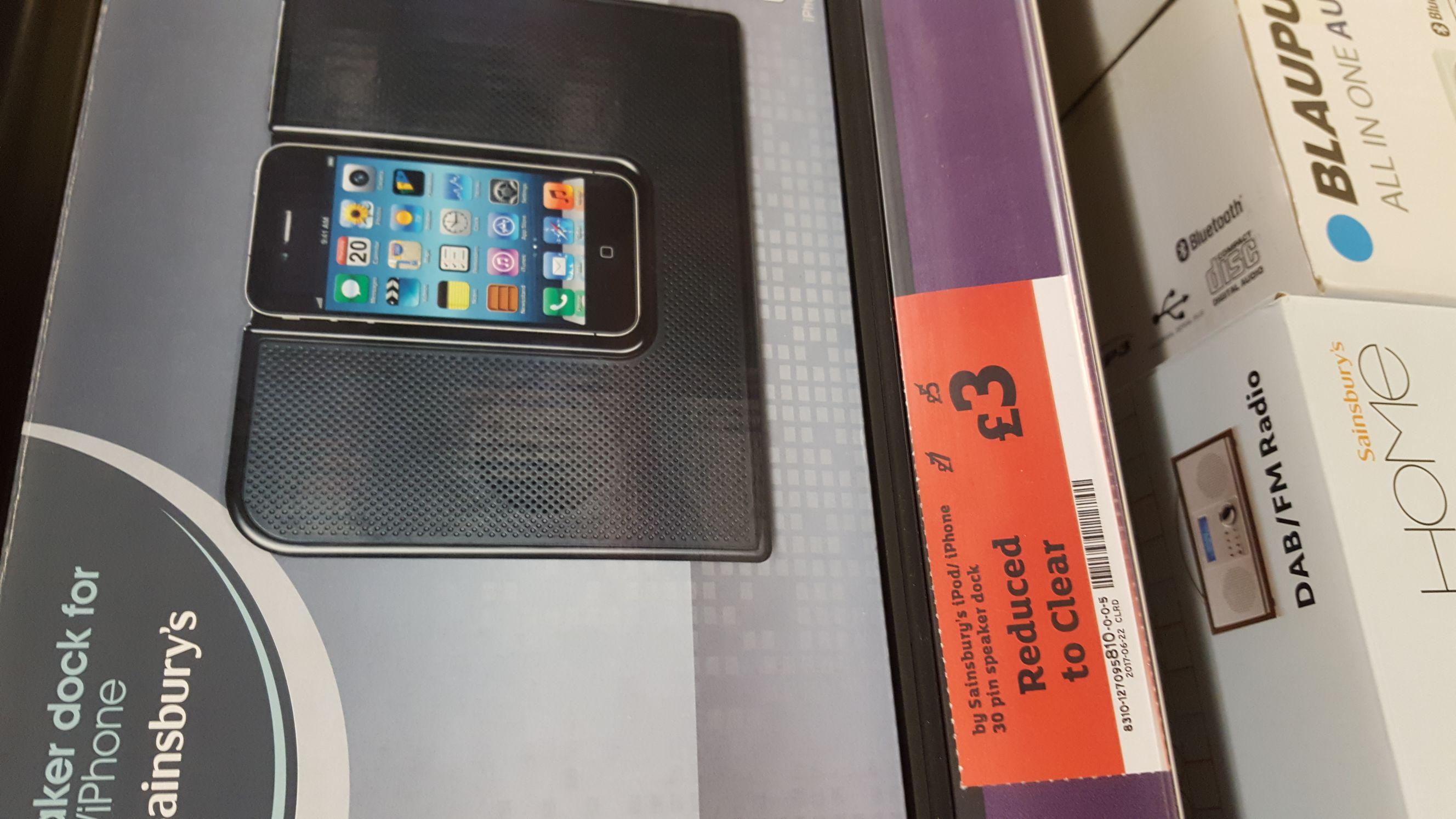 Sainsbury's iPod/ iPhone 30 Pin Speaker Dock @ sainsburys Lincoln £3