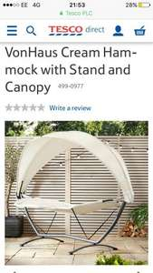 VonHaus Cream Hammock with Stand and Canopy - £69.99 @ Tesco (C&C)