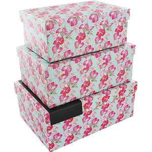Free delivery on EVERYTHING until 16th July - Floral Nested Storage Boxes - Set Of 3 only £2.00 delivered at The Works (links in post)