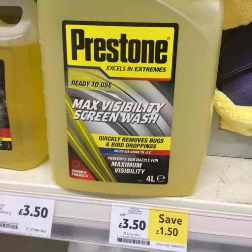 prestone ready to use max visibility screen wash 4L - £3.50 Tesco Instore