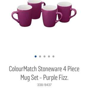 colour match stoneware 4 piece mug set. purple fizz £2.99 instore at argos. also in apple green colour.