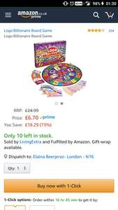Logo Billionaire Board Game at Amazon for £6.70 sold by Living Extra and Fulfilled by Amazon