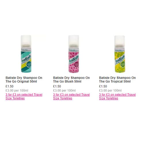 3 for £3 on Batiste Travel Dry Shampoo - Original / Blush / Tropical @ Superdrug
