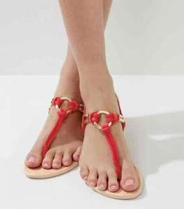 New Look Red Metal Ring Toe Post Sandals £6 (£20 spend for Click & Collect - £2.99 otherwise)