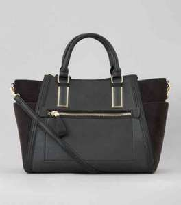 New Look Black Suedette Panel Side Tote Bag (was £29.99) for £15 (£20 for free Click and Collect or £2.99)