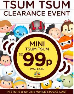 Tsum Tsum Clearance Event  - Marvel, Disney & Star Wars Tsum Tsums now 99p at Clintons!
