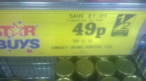 Cow & Gate Orange Porridge 125g down to 49p in home bargains