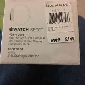 Apple Watch 42mm sport - £149 instore @ John Lewis Kingston