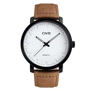 CIVO Men's Brown Leather Band Analogue Quartz Wrist Watch Mens 30M Waterproof Luxury Classic Business Casual Simple Design White Dial Fashion Wristwatch Unique Scratch Resistant Dress Watches for Men - £15.99 (Prime) £19.98 (Non Prime) @ Sold by CIVO