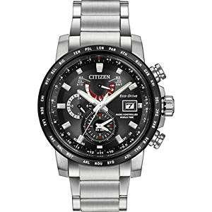 Citizen Watch World Time A.T Men's Solar Powered Watch with Black Dial Analogue Display and Silver Stainless Steel Bracelet £189.54 @ HSamuel
