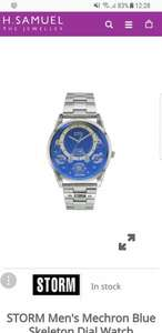 STORM Men's Mechron Blue Skeleton Dial Watch £67.49 @ H samuel