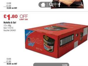 Nutella & go boxes 12 pack £6.89 @ Costco (members)