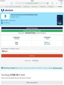 Samsung S8 @ mobiles.co.uk through uswitch. Unlimited text and mins, 5gb of data for £27.99p/m + £235 upfront (£110 cash back with voucher code = £796.76 for 24m)