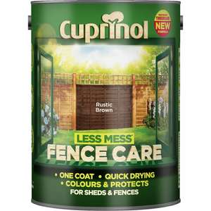 Cuprinol Less Mess Shed/Fence Paint 5L £5 @ Wilko