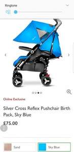 Silver Cross Reflex Pushchair Birth Pack, Sky Blue £75 instore @ John Lewis
