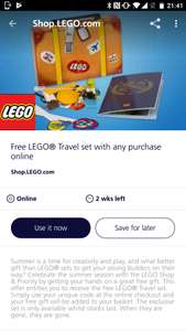 Free Lego travel set with any purchase @ Lego.com - with O2 Priority code.