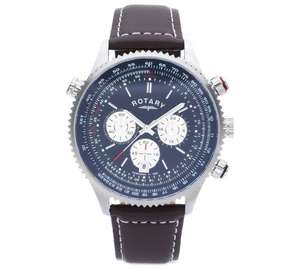 Rotary Men's Stainless Steel Chronograph Leather Strap Watch - ARGOS - £54.99