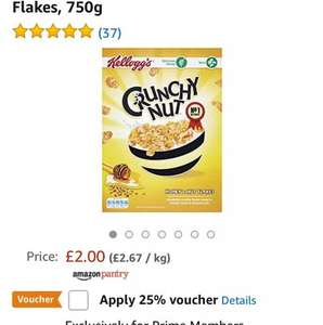 prime members- amazon pantry - £1.50 for 750g of crunchy nut cornflakes